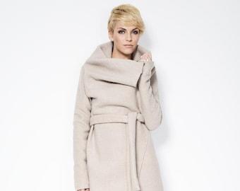 Designer Light Wool Jacket, Asymmetrical Wool Jacket, Trench Coat with Pockets, Sweater Jacket, Cadence Wool Coat, Marcella k - MC0017