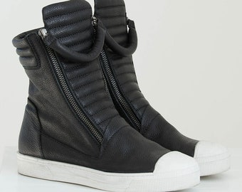 NEW Designer Boots / Leather Sneaker Boots / Zipper Boots / Stylish High Sneakers / Italian Leather Shoes / Marcellamoda - MS0984