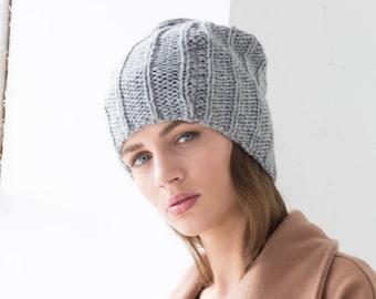 Winter Beany   Slouchy Hat   Knit Hat   Stylish Hat   Large Hat   Black  Beany   Perfect Gift   Marcellamoda k - MA0411 f5701ad36b0c