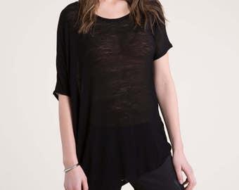 Oversize T-Shirt / Summer Blouse / Short Sleeve Blouse / Loose Top / Casual Shirt / Asymmetric Blouse / Marcellamoda - MB0810