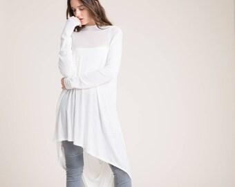 e514d59d55718 Off White Tunic   Loose Top   Asymmetrical Blouse   Long Sleeve Tunic    Casual Tunic   Everyday Shirt   Marcellamoda - MB0103
