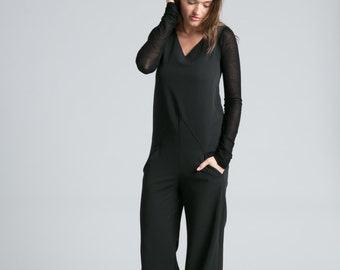 3c2971029a8 Black Jumpsuit   Long Romper   Long Sleeve Jumpsuit   Long Pants   Black  Jumpsuit   Unique Jumpsuit   Marcellamoda - MP0716