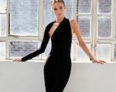 NEW Long Open Black Dress, Backless Dress, One Shoulder Dress, Extra Long Dress, Black Maxi Dress, Open Back Dress, Marilyn Gown, MD0141