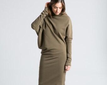 Sweatshirt Dress / Asymmetric Dress / Midi Dress / Winter Dress / Long Sleeve Dress / Casual Dress / Long Dress / Marcellamoda - MD0371