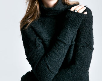 Winter Sweater, Long Black Sweater, Thick Womens Sweater, Thick Turtleneck Sweater, Emily Sweater, Marcella - MB0790