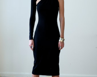 Black Maxi Dress with AssymetrIc Skirt Designer dress ATO Berlin  Unusual Assymetric  hem