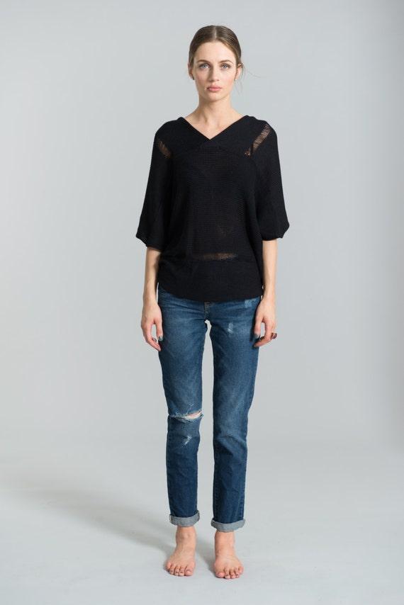 Cardigan MB0382 Marcellamoda Oversized Blouse through Oversized Sweater Blouse See Asymmetric Cardigan Black E4wPF