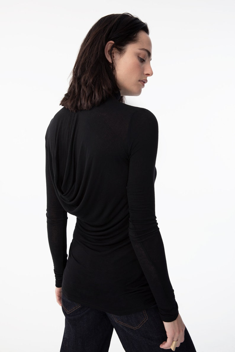 aeb5e155b27a69 Black Fitted Turtleneck   Long Sleeve Blouse   Stylish Party