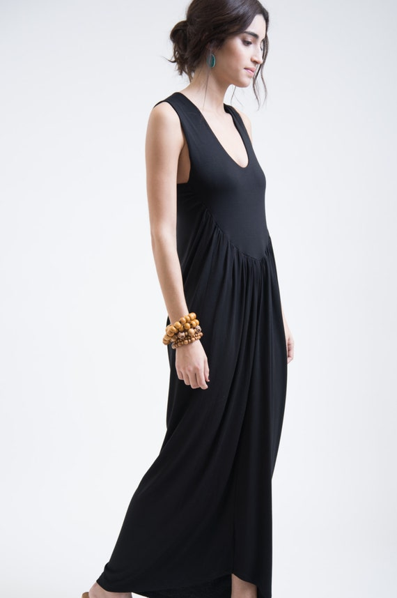 Black Marcellamoda Black Designer Dress Bloom Oversized Dress Maxi Long Strap Dress Dress MD0129 Draping Dress Dress zCrp6C