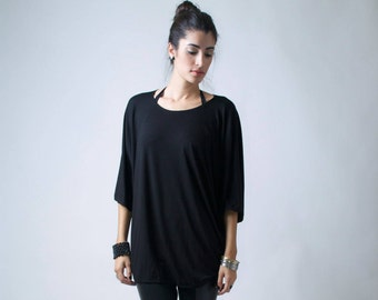 Loose Top Tunic / Oversized Blouse with Batwing Sleeves / Raglan Top / Black Casual Blouse / Top Tunic / Marcellamoda - MB0007