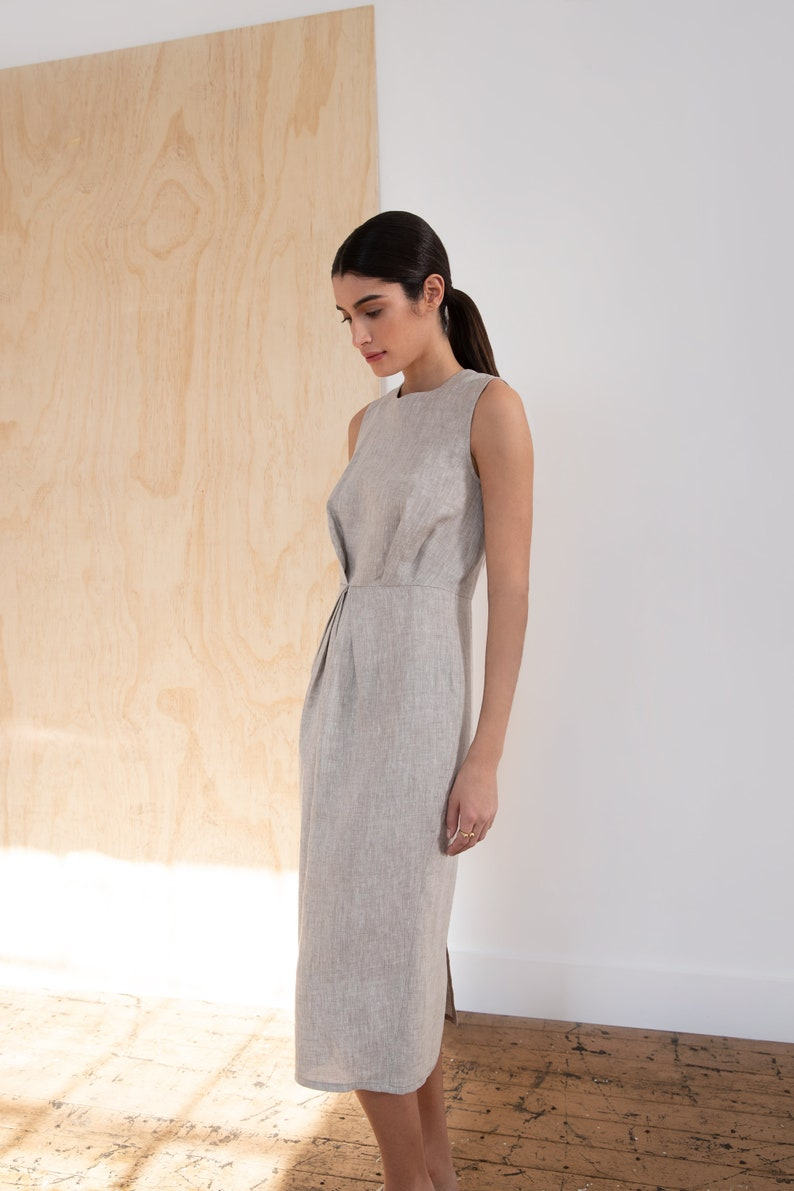 Anya Dress Tie-Waist Shift Dress Casual Dress Handmade Dress Marcellamoda MD1247 Linen Midi Dress Day Dress