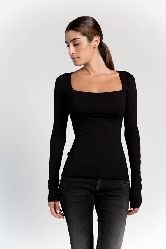 4e42abe726b50 Square Neckline Top   Party Blouse   Black Top   Stylish Shirt