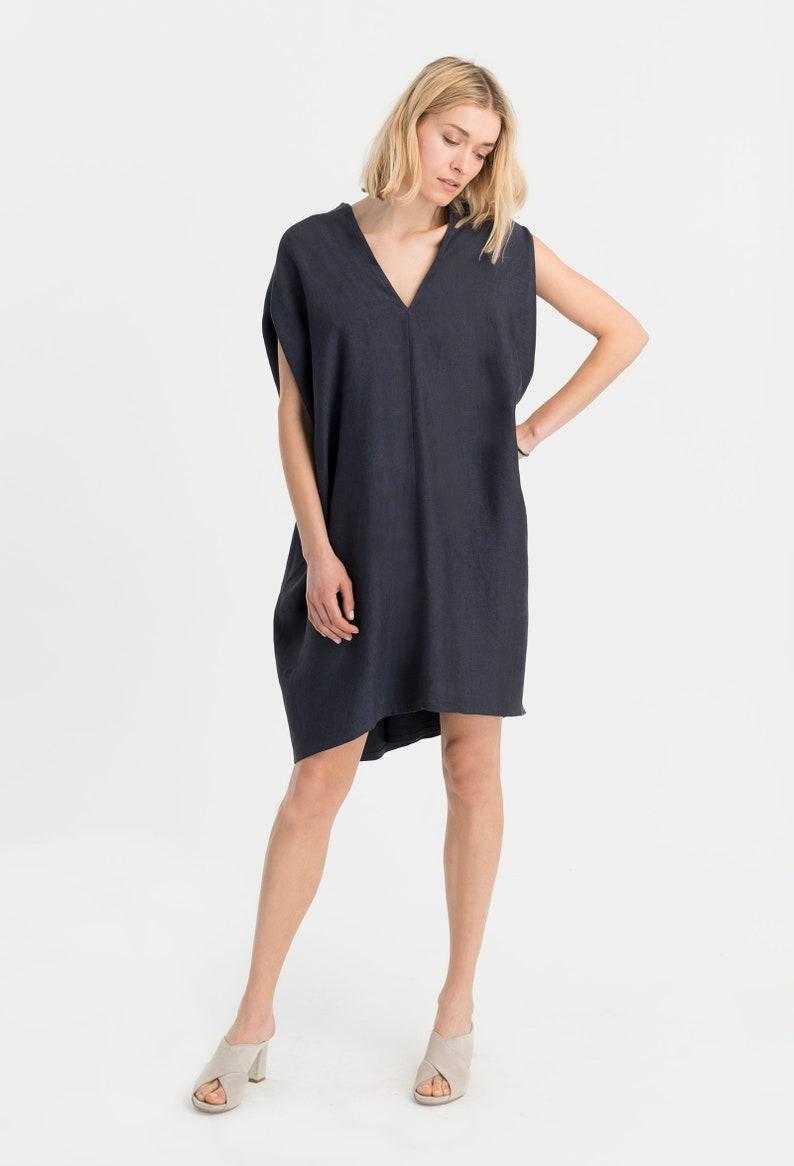 0f718099a1 Linen Dress   Bat Sleeves Tunic   Loose Dress   Black Top
