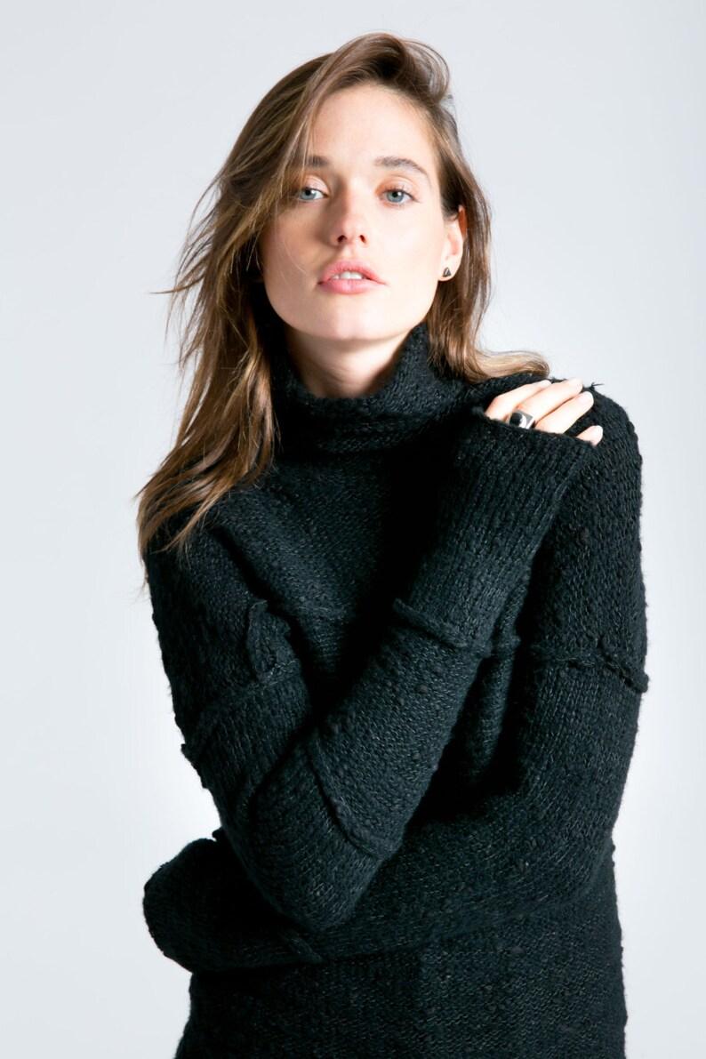 Winter Sweater Long Black Sweater Thick Womens Sweater image 1