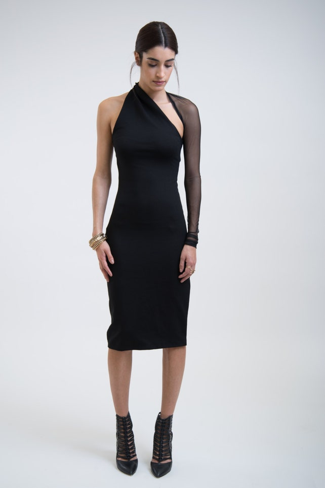 0b71b80362f Black Mesh Dress   One Shoulder Dress   Midi Dress   Party Dress   Ponte  Dress   Cocktail Mesh Dress   Marcellamoda - MD0003
