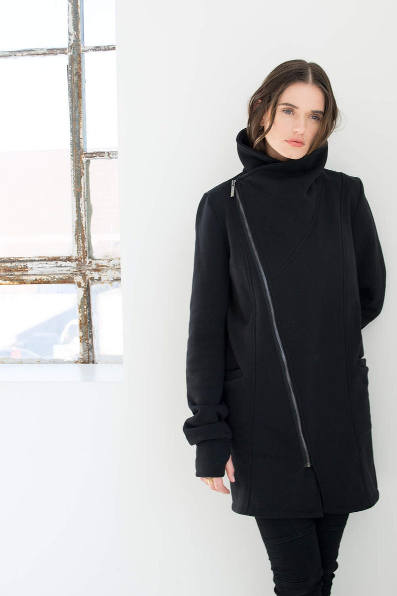 86c67adbf08d Sweatshirt High Collar Jacket   Asymmetric Jacket   Zipper