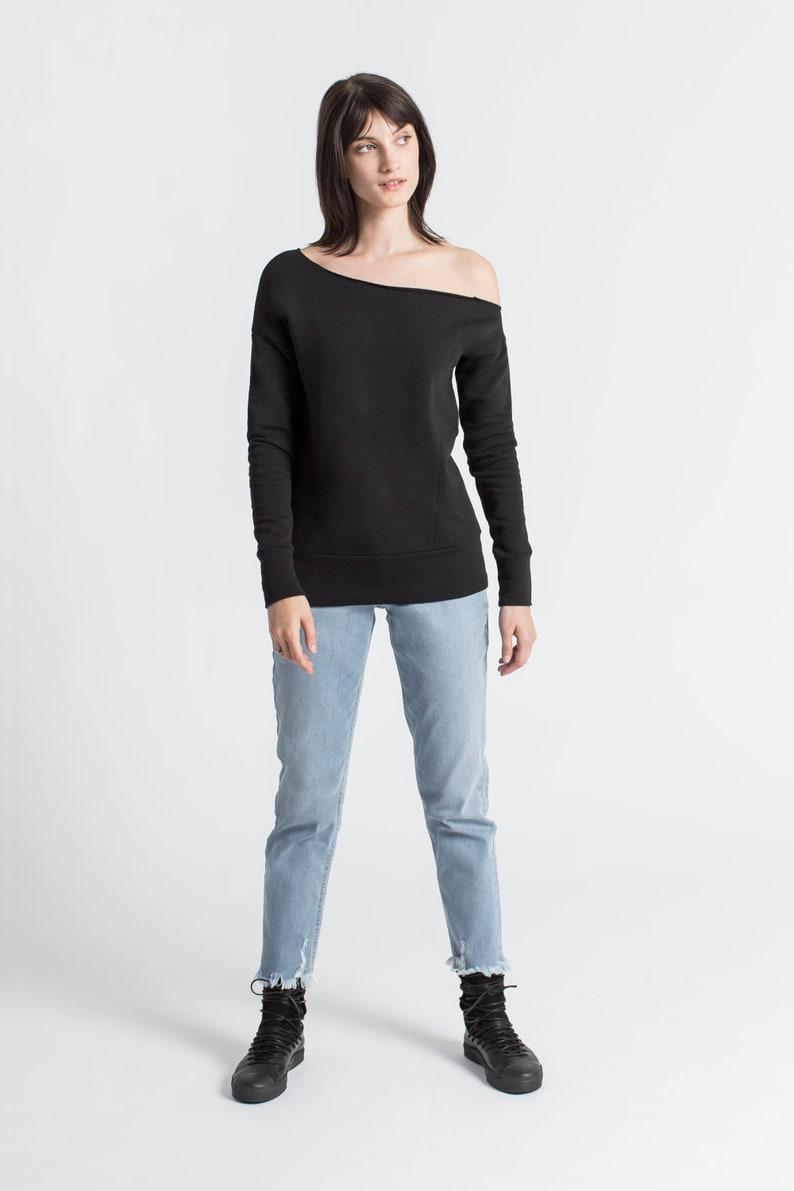 MB1377 Long Sleeve Top Jamie Sweatshirt One Shoulder Blouse Marcellamoda NEW Off Shoulder Sweatshirt