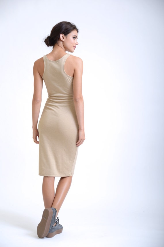 Dress Dress Beige Tight Summer Fitted Party Casual Dress Dress MD0081 Marcellamoda Dress Dress Dress Back WInAACx8wq