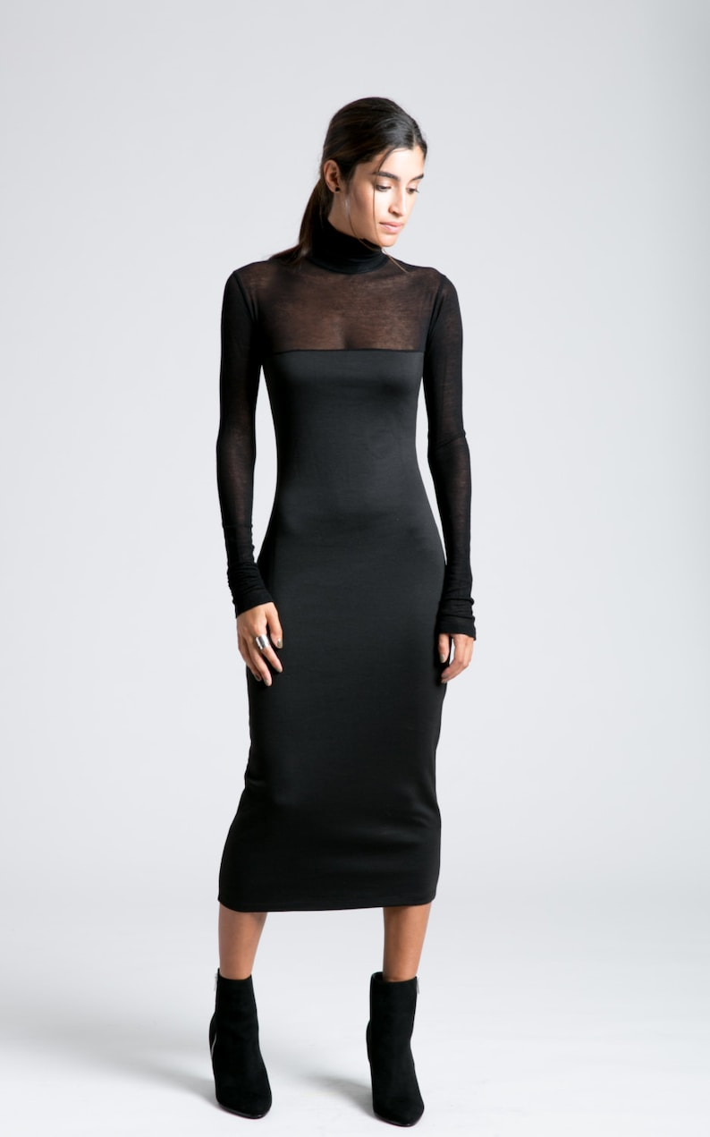 8a26561798eb Black Midi Dress   Turtleneck Dress   Party Dress   Long