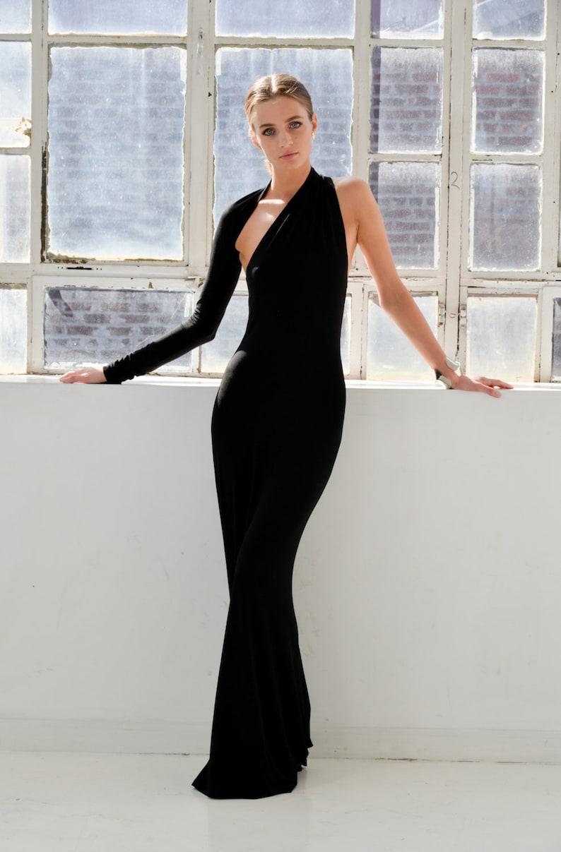 Long Open Black Dress Backless Dress One Shoulder Dress image 0