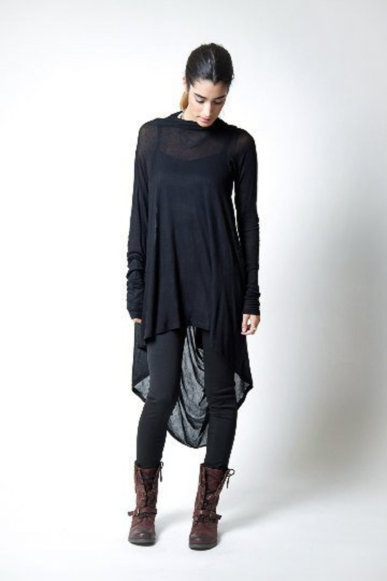 Black Tunic / Loose Fitting Top / Asymmetrical Blouse / Long image 0