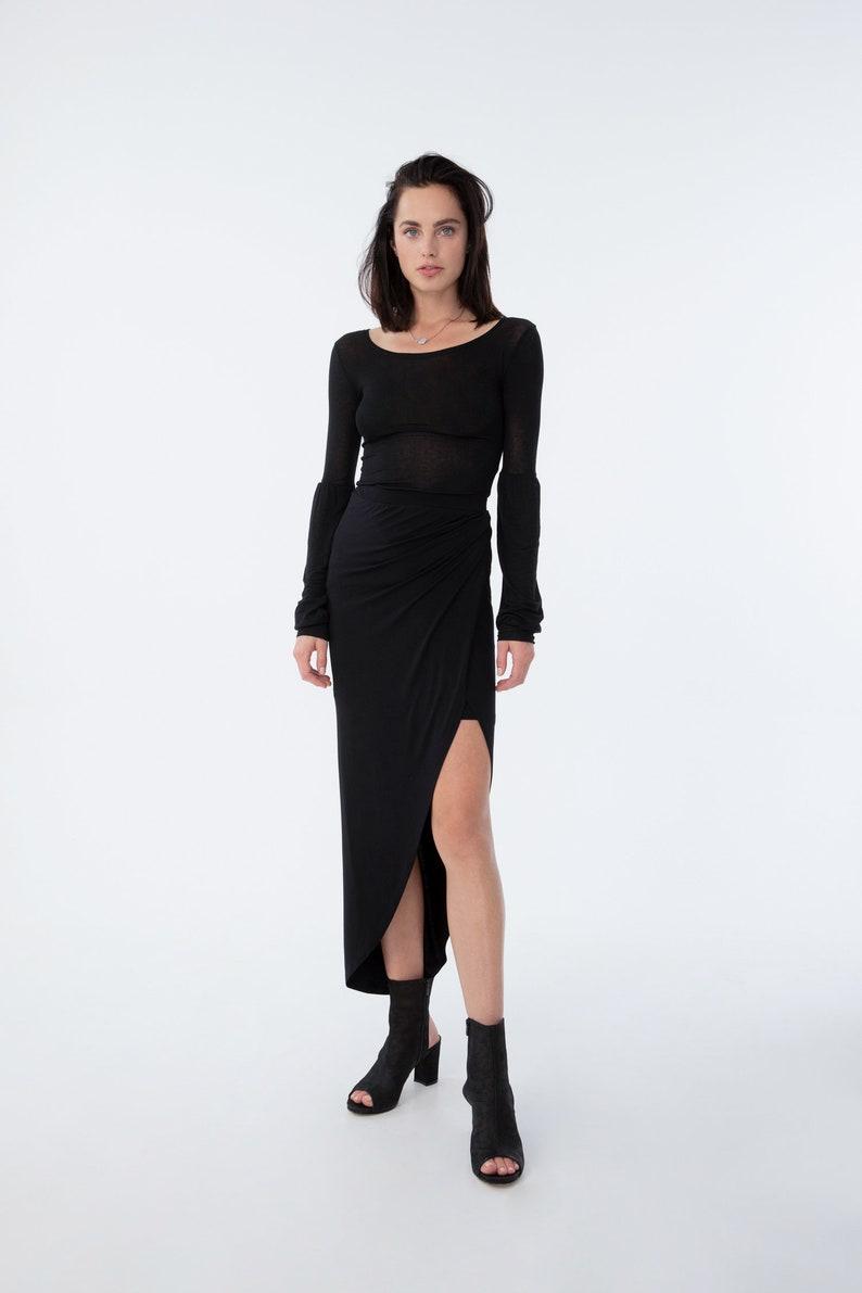 3a33b617d4 NEW Black Wrap Maxi Skirt / Black Mullet Skirt / Stylish Skirt | Etsy