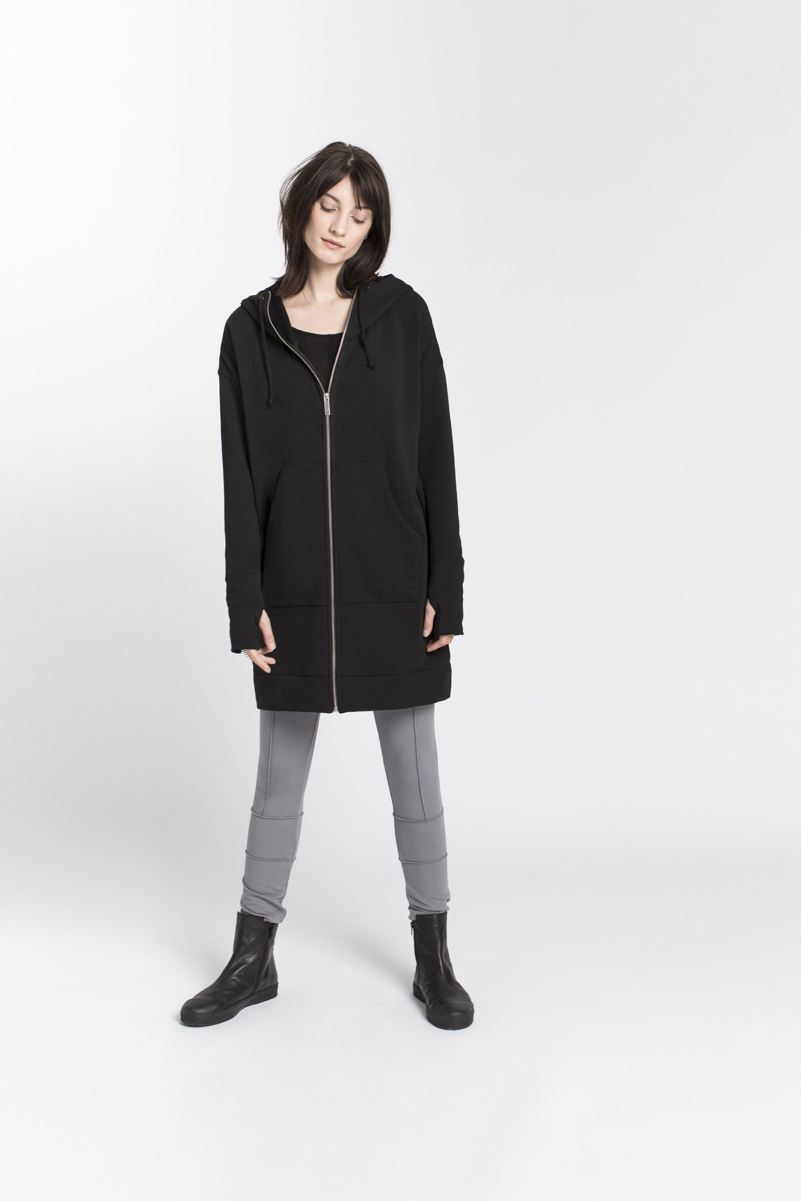 Zip-up Jacket, Pockets Hoodie Sweatshirt, Oversized Zippered, Remi Zippered Hoodie, Marcellamoda - Mc1378