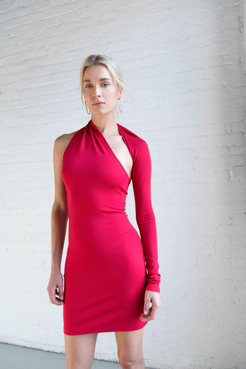 efe94fc1e9d One Shoulder Sleeve Dress / Party Dress / Cocktail Dress / | Etsy