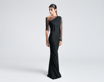 Black Ball Gown, Long Gown, Black Formal Gown, Black Elegant Dress, Evening Dress, Long Evening Gown, Long Dress, Valeria Dress, MD0738