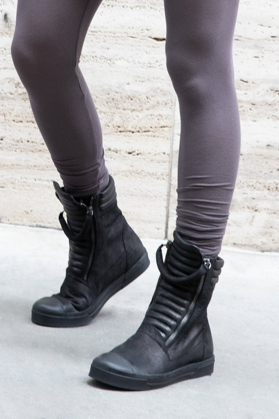 Minimalist Boots, Leather Sneaker Boots, Black Boots, Zipper Shoes, Karma Boots, Marcellamoda - MS1205