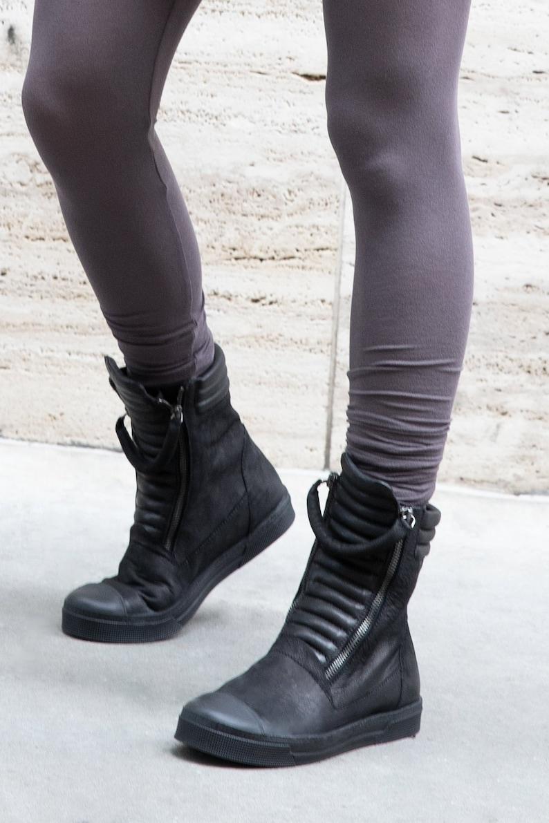 Minimalist Boots Leather Sneaker Boots Black Boots Zipper Black 01-J