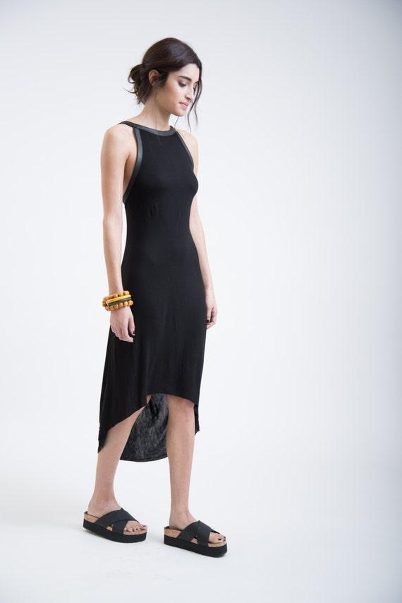Dress Dress Dress Halter Extravagant Dress MD0254 Faux Dress Summer Marcellamoda Party Dress Leather Stylish Black XxRqWZECw
