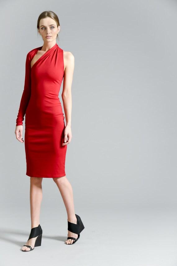 Pencil Dress Dress Dress MD0003 Dress Red One Dress Midi Cocktail Party Marcellamoda Dress Shoulder YO5xqz