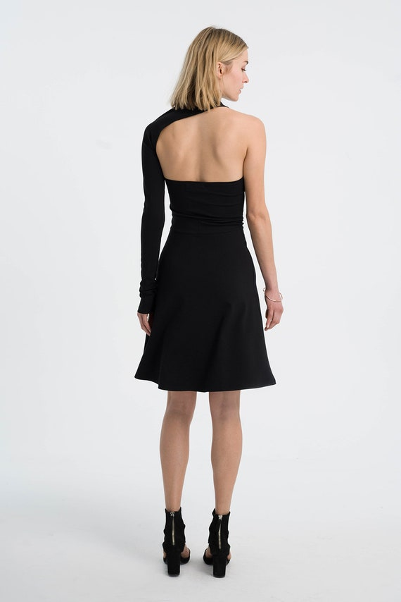 Line Cocktail Dress One Dress Dress Dress MD1058 Dress Black Dress Formal Marcellamoda Shoulder A Midi Unique vvtxwq4OU