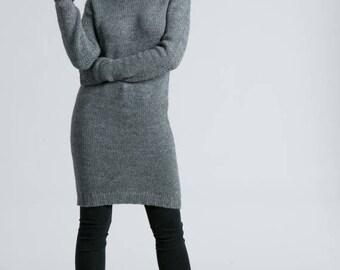 Sweater Dress / Turtleneck Dress / Long Sleeve Dress / Midi Dress / Wool Dress / Winter Dress / Marcellamoda - MD0791