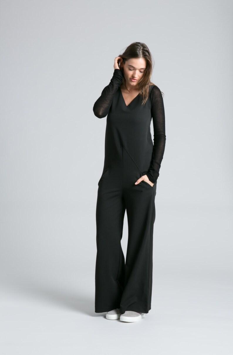 241184a9cce Black Jumpsuit   Long Romper   Long Sleeve Jumpsuit   Long