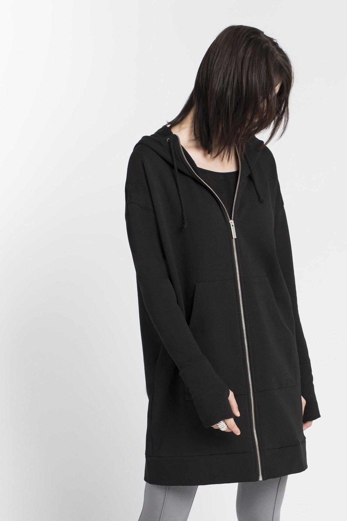 Zip-up Jacket, Pockets Hoodie Sweatshirt, Oversized Zippered, Remi Zippered Hoodie, Marcellamoda - Mc1378