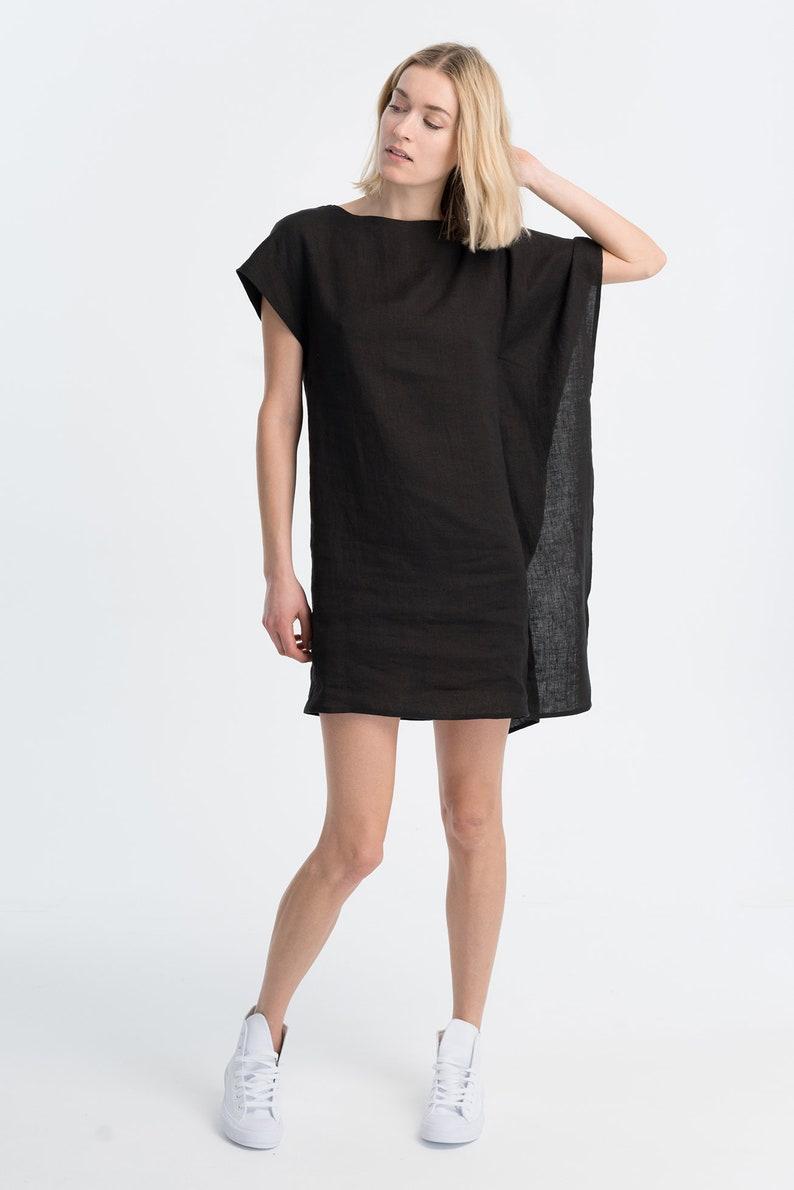 32b0bba062 Linen Tunic Dress   Mini Dress   Bat Sleeves Tunic   Loose Dress   Oversize  Tunic   Black Tunic   Marcellamoda - MD1029