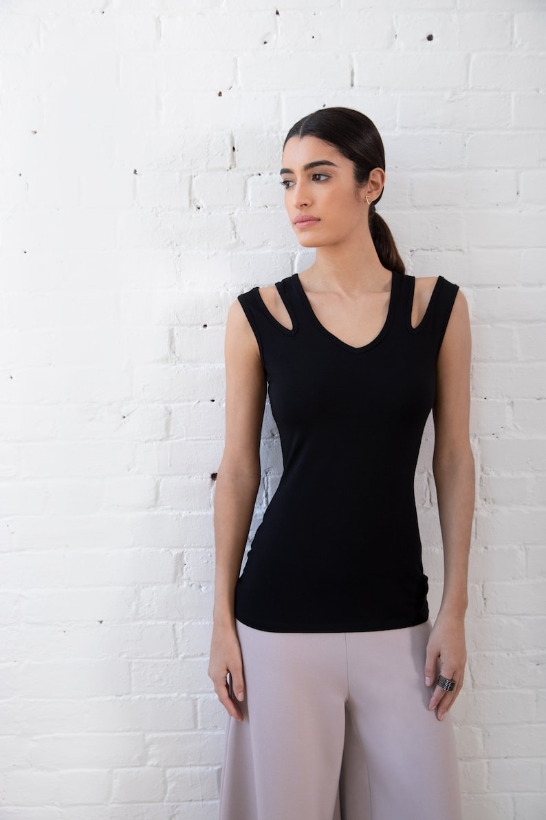 NEW Cut-Out Tank Top  Shoulder Cut Out Top  Summer Top  Black Tank Top  Fitted Top  Sleeveless Designer Top  Marcellamoda MB1280