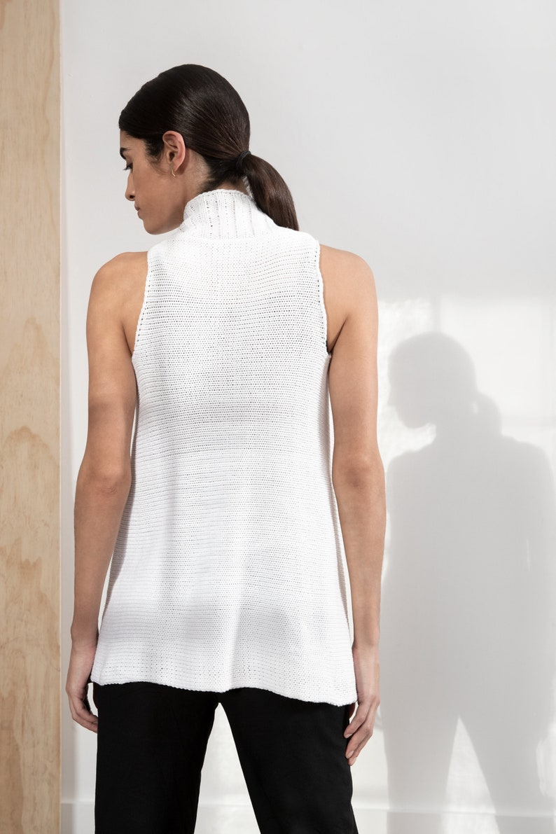 Black Sleeveless Vest Organic Cotton Vest Taylor Vest Summer Knit Jacket Sheer Summer Vest Hand Knit Vest Marcellamoda MC1278