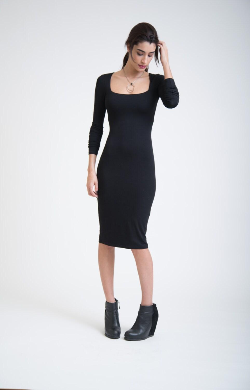Black Elegant Dress / Classic Midi Dress / Long Sleeves ...
