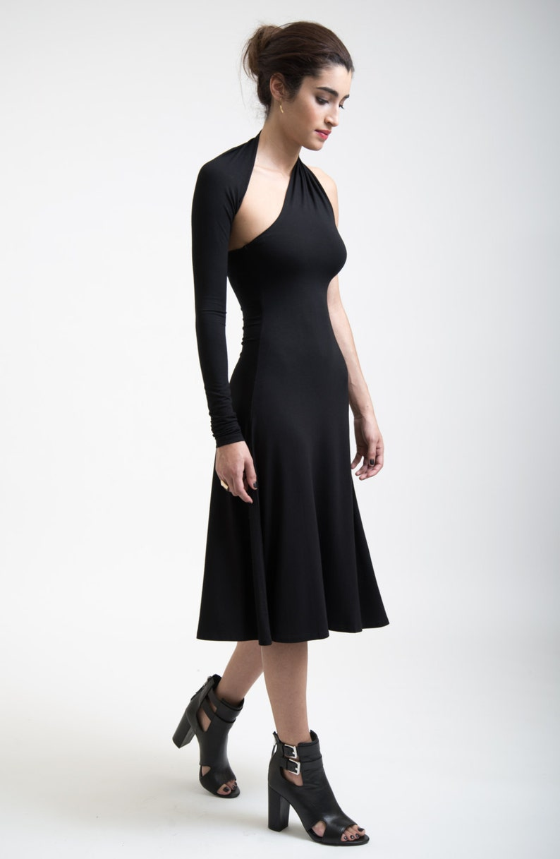 4a640ccf360 Black Dress   One Shoulder Dress   Cocktail Dress   One Sleeve