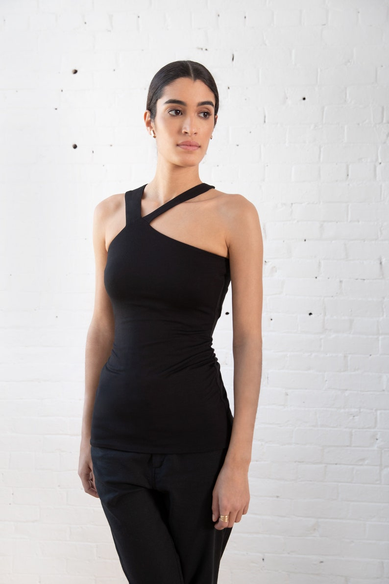 MB1317 NEW X-Halter Neckline Top  Strappy Summer Top  Black Top  Black Tank Top  Fitted Top  Sleeveless Designer Top  Marcellamoda