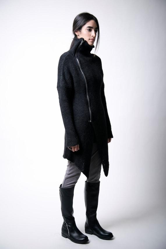 23c0be19213c Black Sweater Coat   Zipper ...