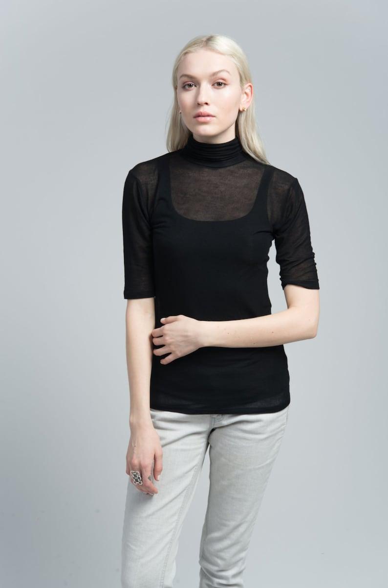 fdbf8c4a4e3b5d Summer Blouse   Sheer Top   Short Sleeve Turtleneck   Black