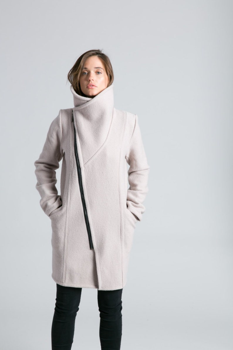 bc14b46df3 Stylish Jacket / Asymmetric Jacket / Trench Coat / Wool Jacket / High  Collar Coat / Nude Coat / Winter Coat / Marcellamoda - MC0786