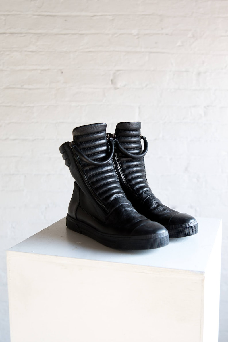 Leather Sneaker Boots Platform Boots Winter Boots Ankle Black 01-J