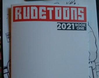 2021 Sketchbook by Boo Rudetoons ink comics Harleyquinn batman altgirl vegan beard Deadpool transformers scifi pinup cartoon cosplay art pen