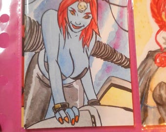 Mystique aceo SketchCard watercolour by boo rudetoons Xmen marvel