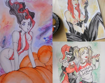 Watercolour Commission Painting A4 Art by boo rudetoons comics portrait avengers Xmen HarleyQuinn Deadpool free shipping batman